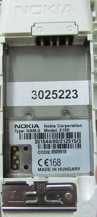 5 pin Nokia 2100 cell phone proprietary photo and diagram