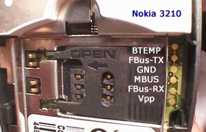 6 pin Nokia 3210 cell phone proprietary photo and diagram