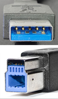 9 pin USB 3.0 Standard-A, Standard-B Plugs and 11 pin USB 3.0 Powered-B Plug photo
